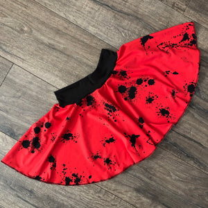 Red and Black Splatter Harem Pants, Shorts and Twirl Skirts