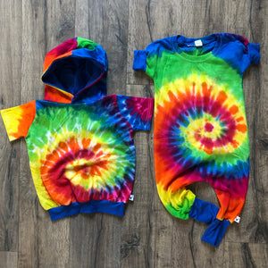 Tie Dye Rainbow Romper/Dress/Hoodie