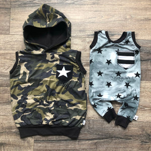 Stars and Stripes Pocket Romper/Dress/Hoodie, hoodie and tank examples