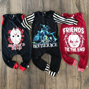 Friends til the End Chucky Halloween Romper/Dress/Hoodie, Romper Flat Lay