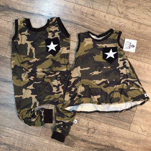 Camo Pocket Romper/Dress/Hoodie, flat lay
