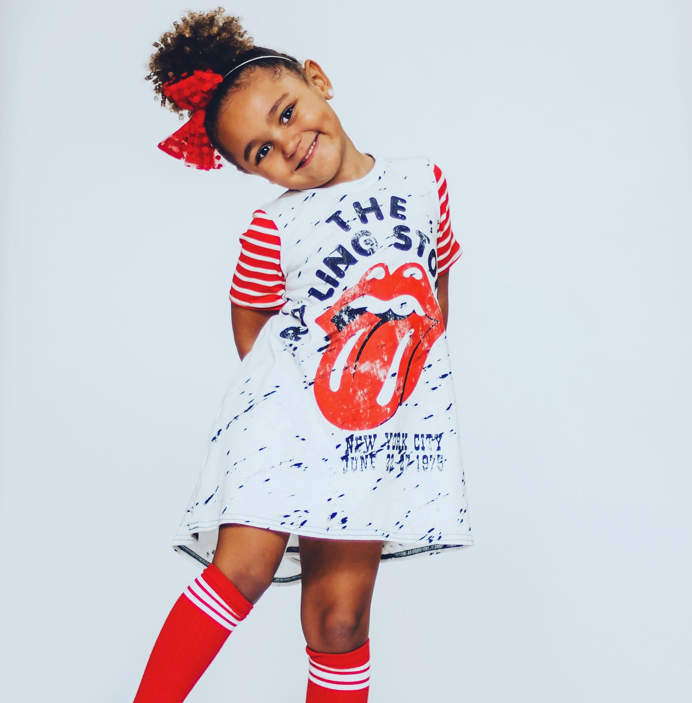 The Rolling Stones Romper/Dress/Hoodie, dress modeled