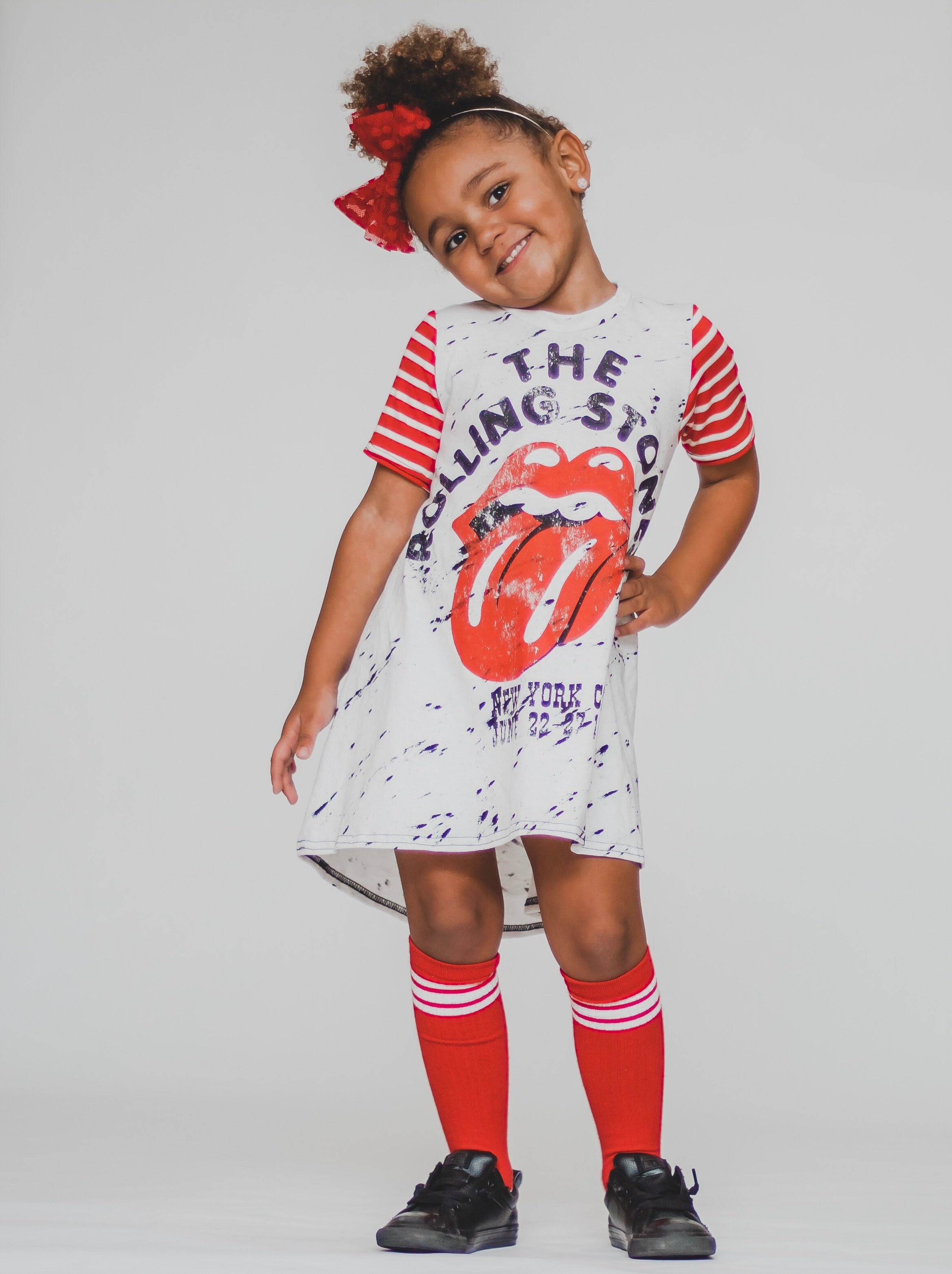 The Rolling Stones Romper/Dress/Hoodie, modeled on little girl