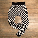 Black and White Checkered Racer Harem Pants, Shorts and Twirl Skirts