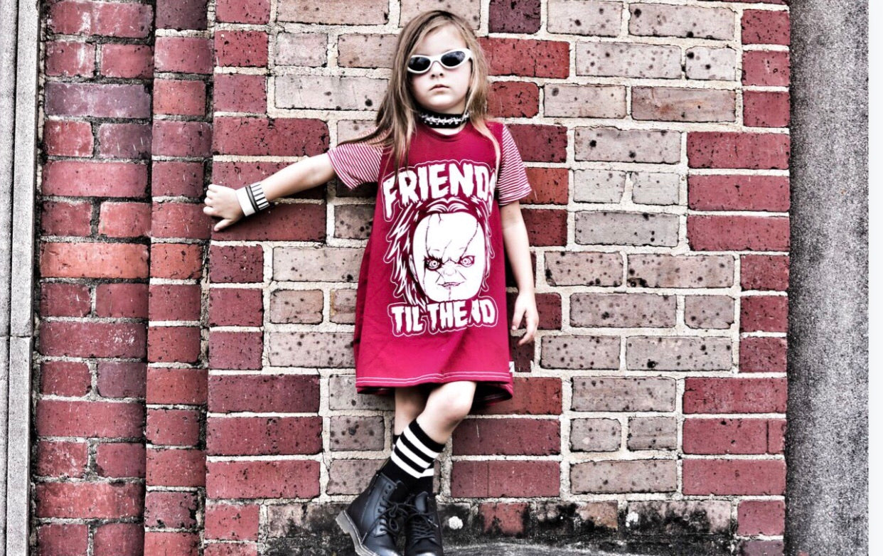 Friends til the End Chucky Halloween Romper/Dress/Hoodie, Dress Modeled