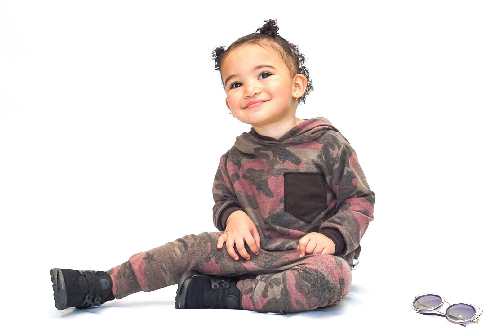 Brown and Burgundy Camo French Terry Hoodie Jogger Set