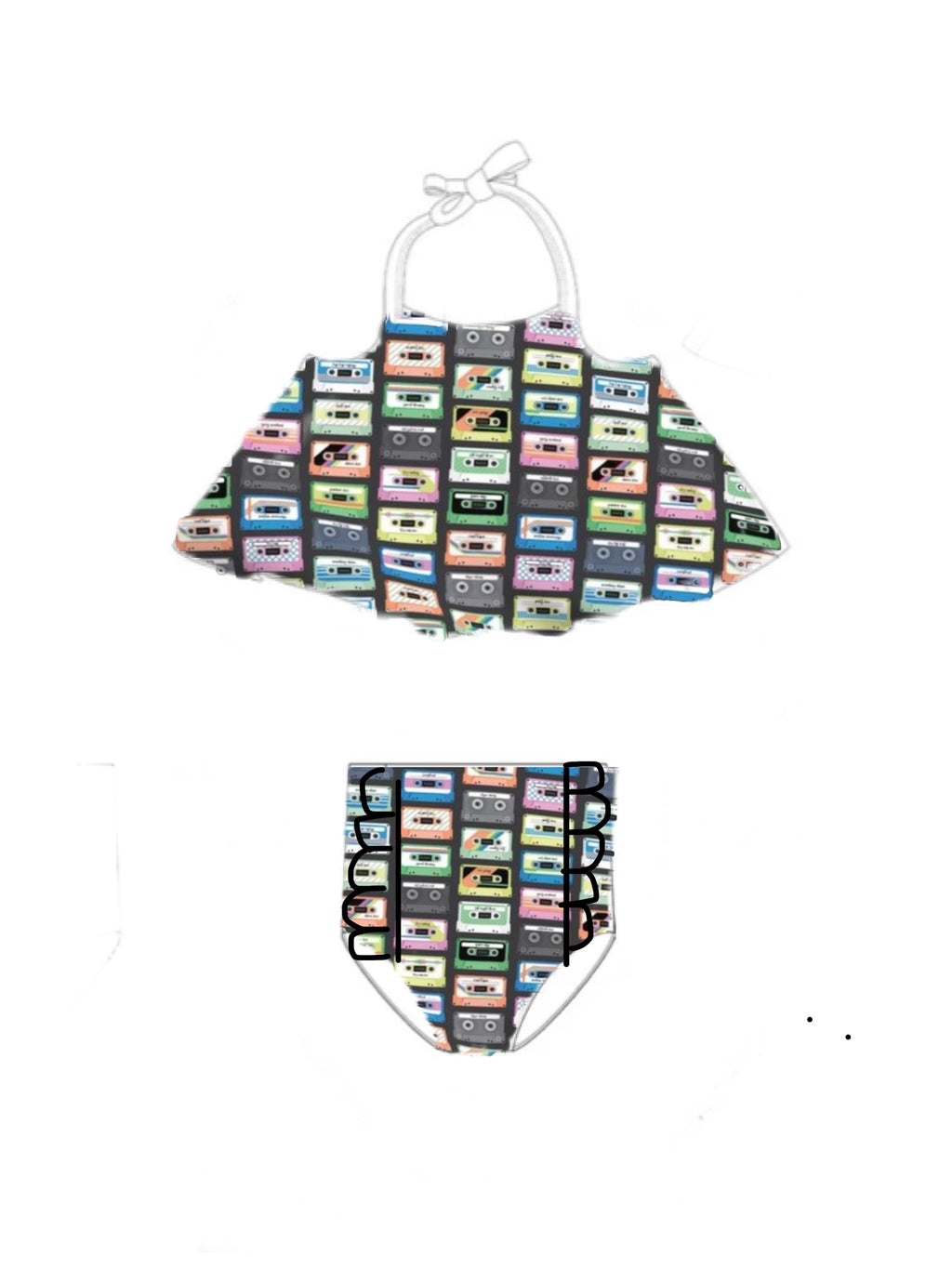 Swing Top Cassette Tapes girls SwimSuit