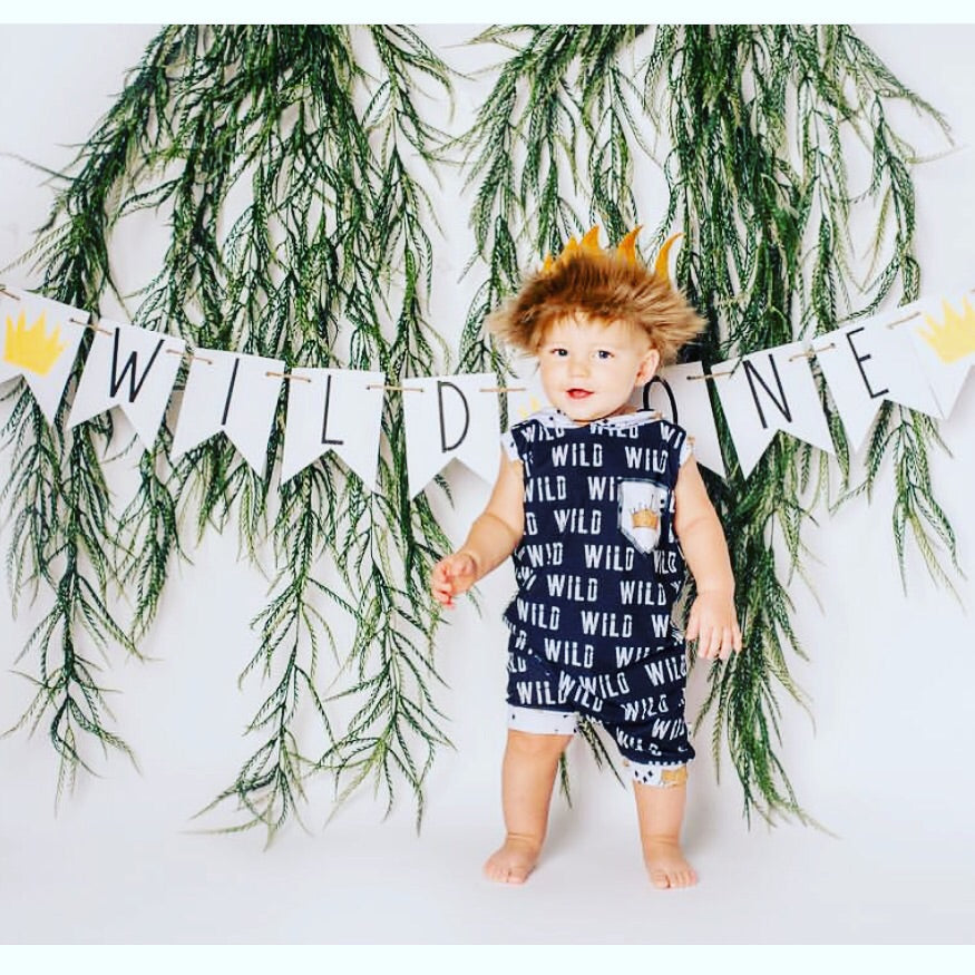 Where the Wild Things Are Wild One Crown Romper/Dress/Hoodie, Short Romper On Model