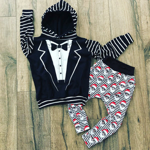 Tuxedo New Years Suit Romper/Dress/Hoodie, flat lay