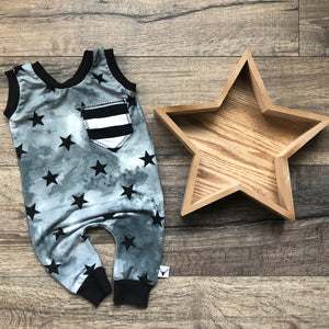 Stars and Stripes Pocket Romper/Dress/Hoodie, flat lay