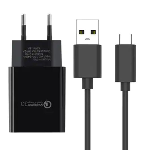 EU 2in1 Plug Power Charger USB Type C Data Sync Charging Cable for Xiaomi Huawei