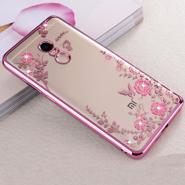 Beautiful Flowers Pattern Slim Soft TPU Plating Bumper Back Case For Xiaomi Redmi Note 4