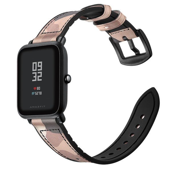 Camouflage Pattern Silicone Leather Watch Band Watch Strap for Xiaomi Amazfit Bip Smart Watch