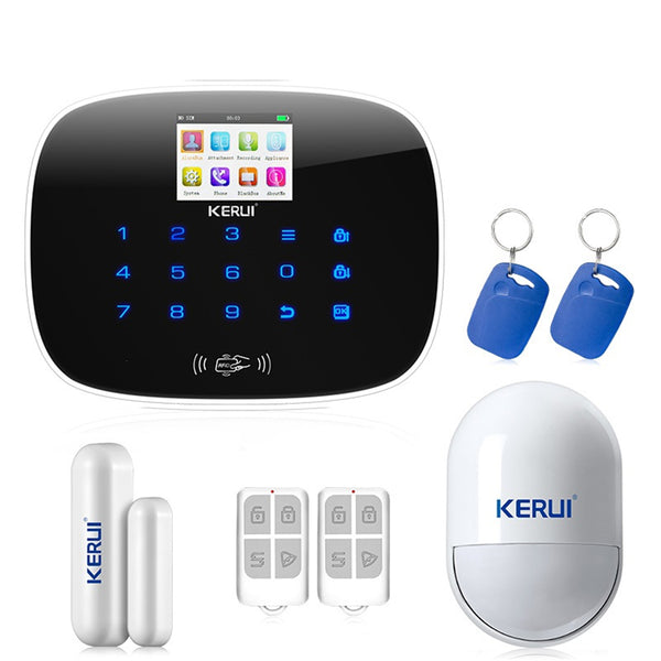 Kerui G19 Ios Android App Gsm Home Alarm System Door Window Sensor Pet Inmune Pir Detector Rfid Card