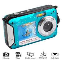 Blue 1080P Full HD Waterproof Digital Camera Underwater Camera 24 MP Video Recorder Selfie Dual Screen DV Recording Camera