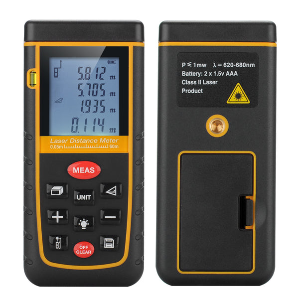 A60 Portable Digital Laser Distance Measurer Meter - for Distance and Angle Measurement,Area and Volume Calculation, Black