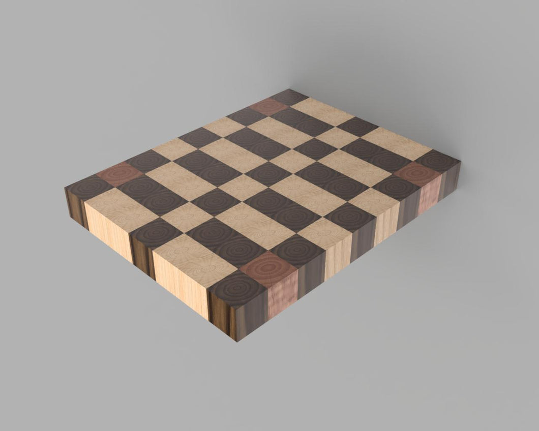 Tri-Color Pattern End Grain Cutting Board