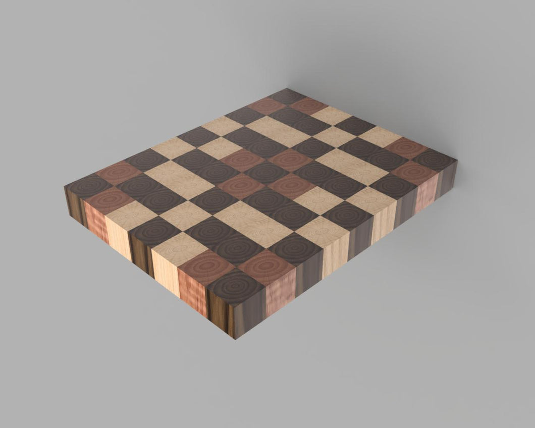 Tri-Color End Grain Cutting Board