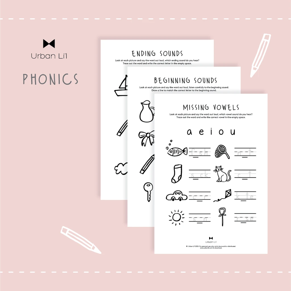 Phonics free colouring printables -urbanlil