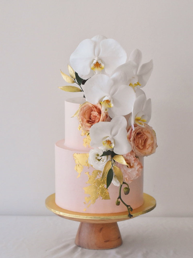 Online Peach & Gold Orchid Cake | Cakes. Sweets. Dessert Bars- Zee & Elle