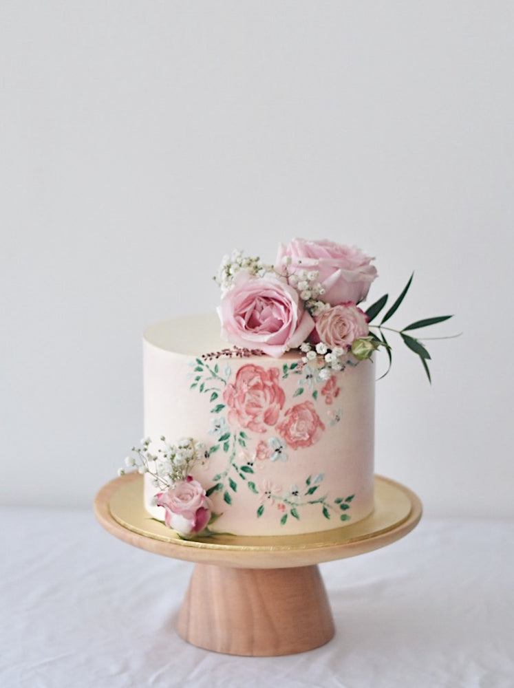Online Hand Painted Pastel Pink Cake | Cakes. Sweets. Dessert Bars- Zee & Elle