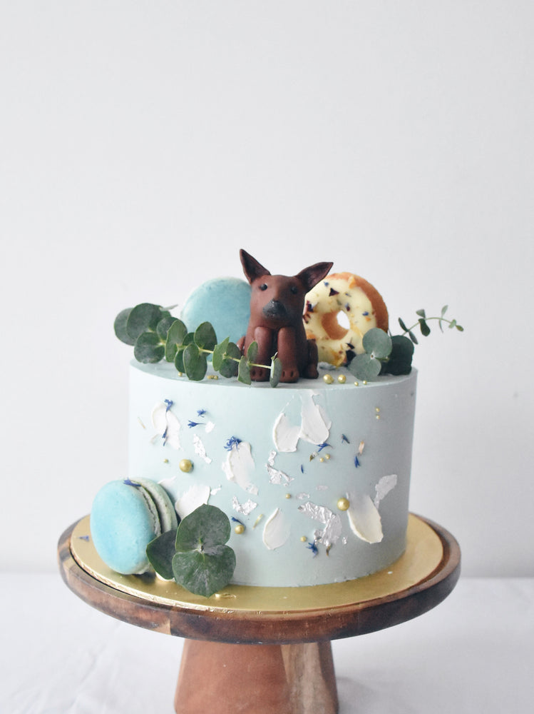 Abstract Baby Blue Dog Cake Singapore - Zee & Elle