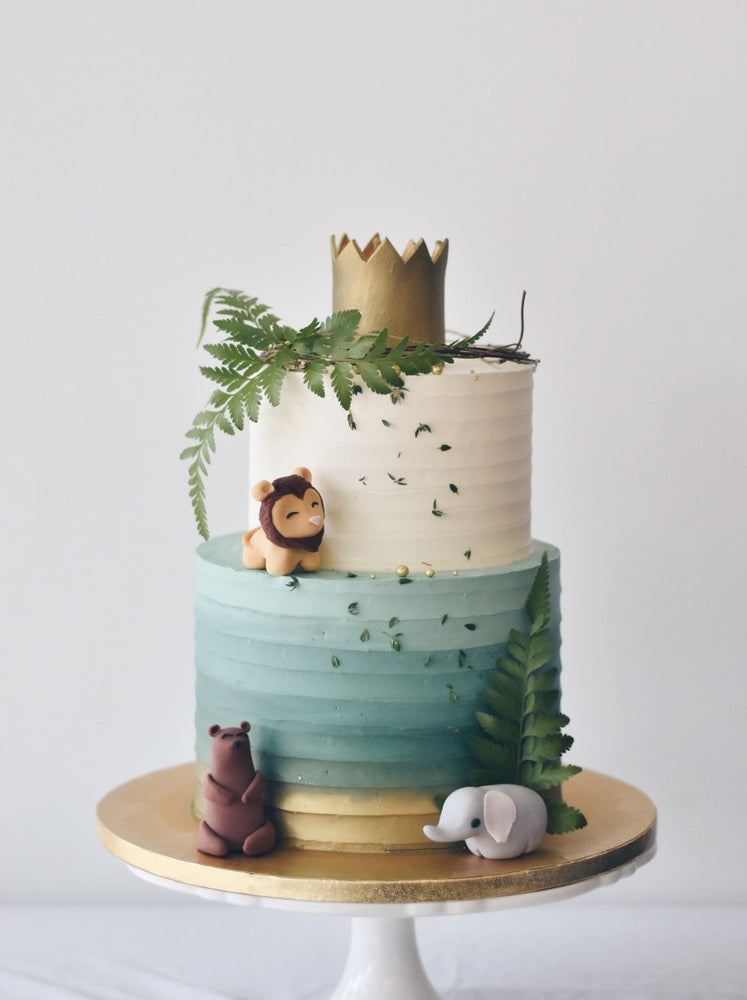 Gold Green Animal Kingdom Cake