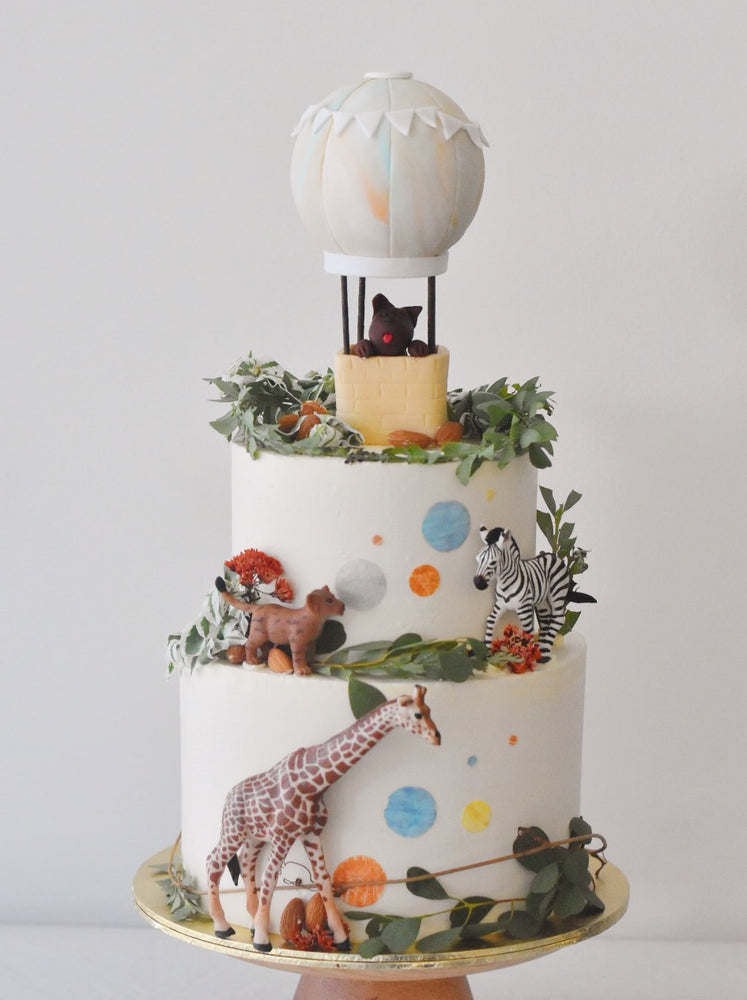 Online Hot Air Balloon Animal Confetti Cake  | Cakes. Sweets. Dessert Bars- Zee & Elle