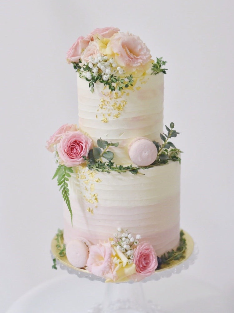 two tier white and pink floral cake -zeeandelle