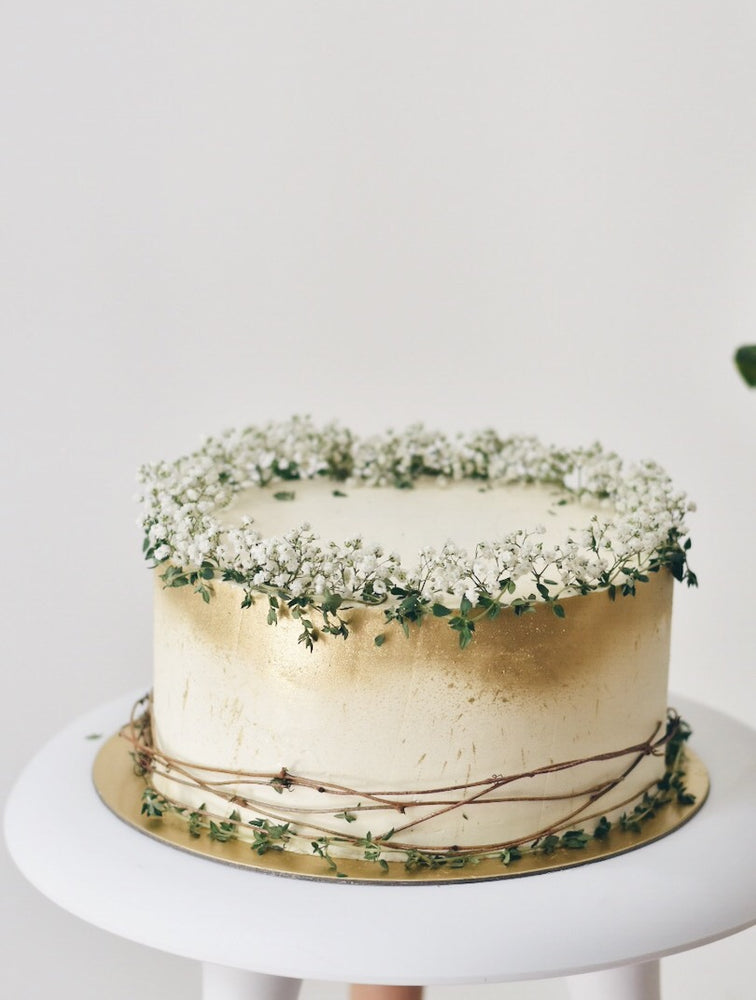 Customised Babybreath Thyme Gold Cake - Cakes. Sweets. Dessert Bars- Zee & Elle