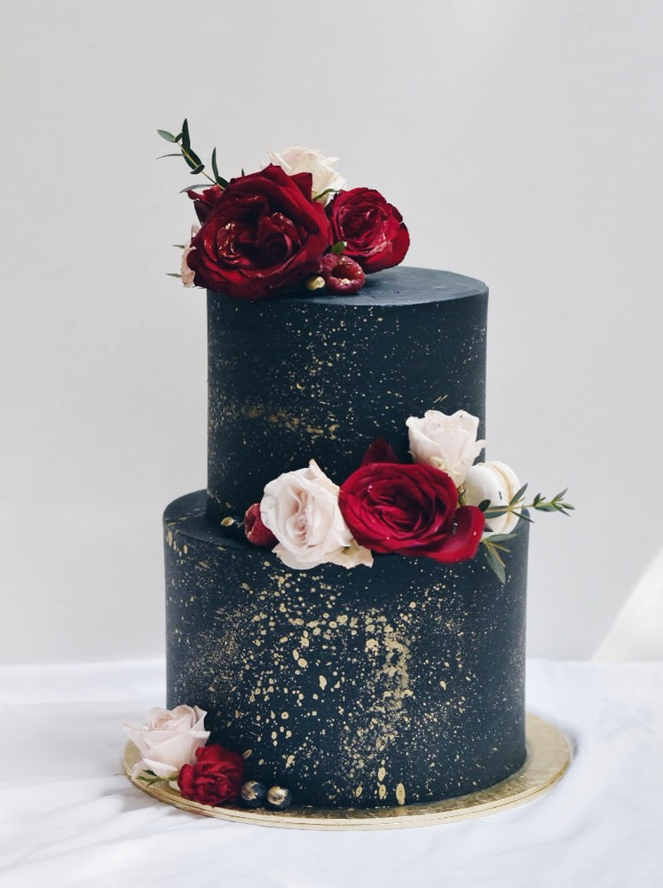 Customised Black & Red Floral Cake - Cakes. Sweets. Dessert Bars- Zee & Elle