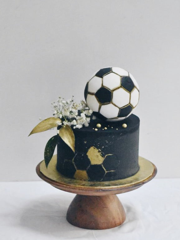 Online Black and Gold Football Cake |  Cakes. Sweets. Dessert Bars- Zee & Elle