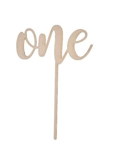 "Wooden ""one"" Cake Topper"