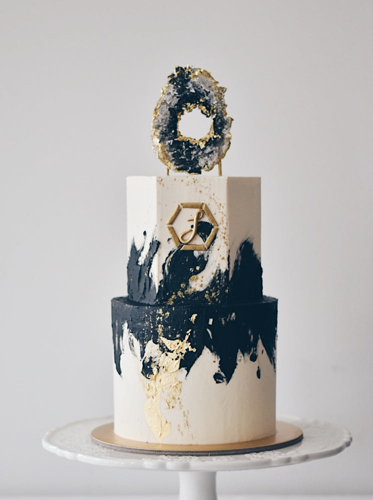 Online Amethyst Black and Gold Cake |  Cakes. Sweets. Dessert Bars- Zee & Elle