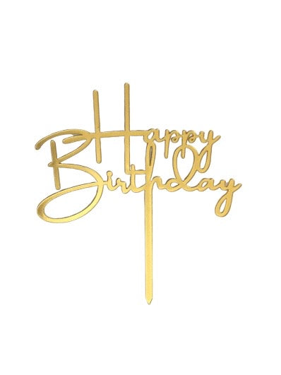 "Gold ""Happy Birthday"" Cake Topper"