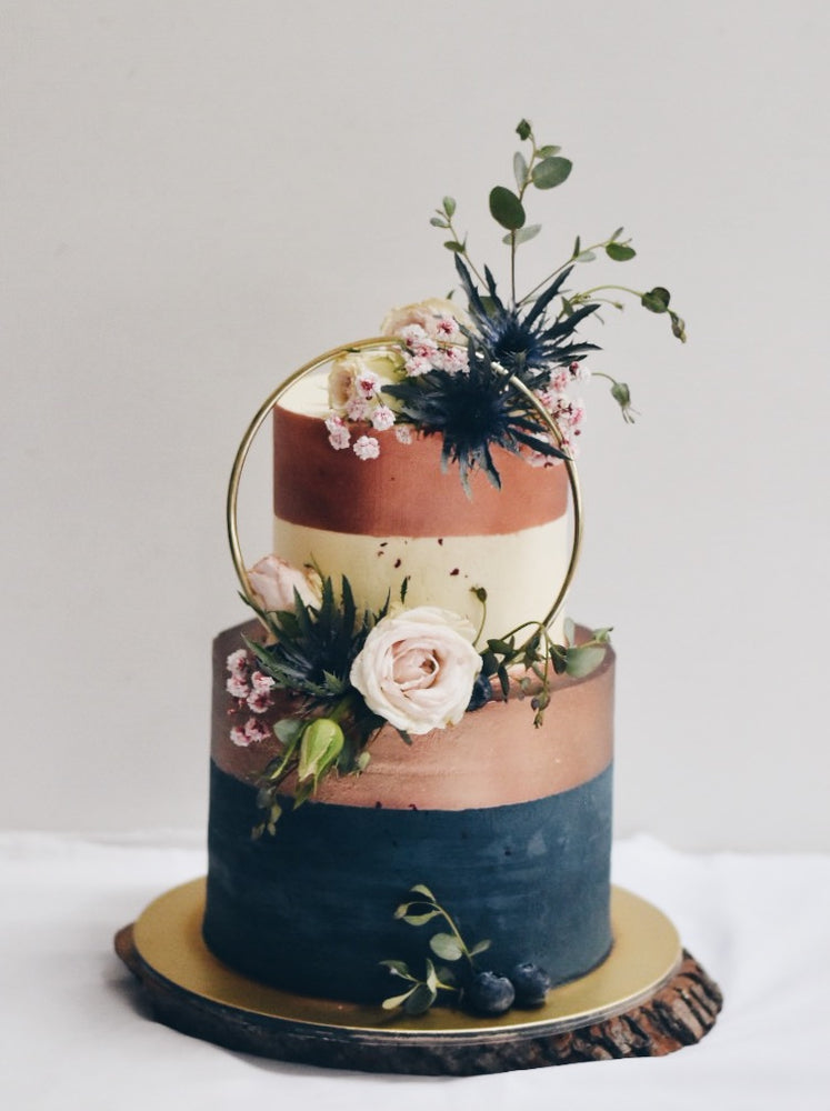 Online Enchanted Rose Gold & Navy Ring Cake  | Cakes. Sweets. Dessert Bars- Zee & Elle