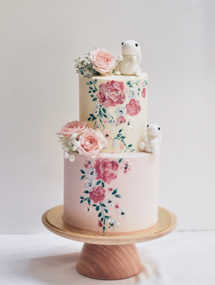 Online Hand Painted Pastel Pink Bunny Cake  | Cakes. Sweets. Dessert Bars- Zee & Elle