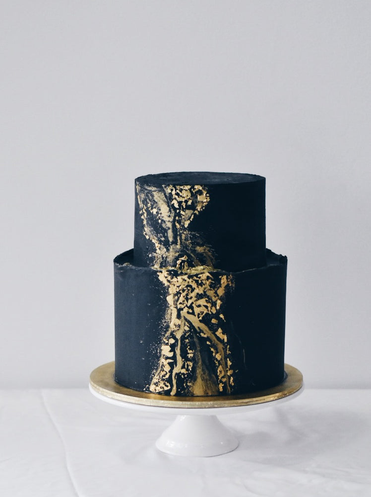 Customised Online Black and Gold Party Birthday Cake - Zee & Elle