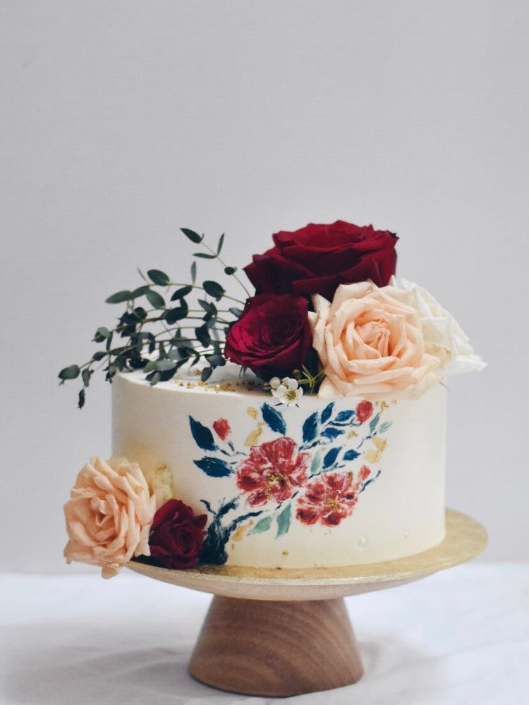 Elegant Hand Painted Rose Cake