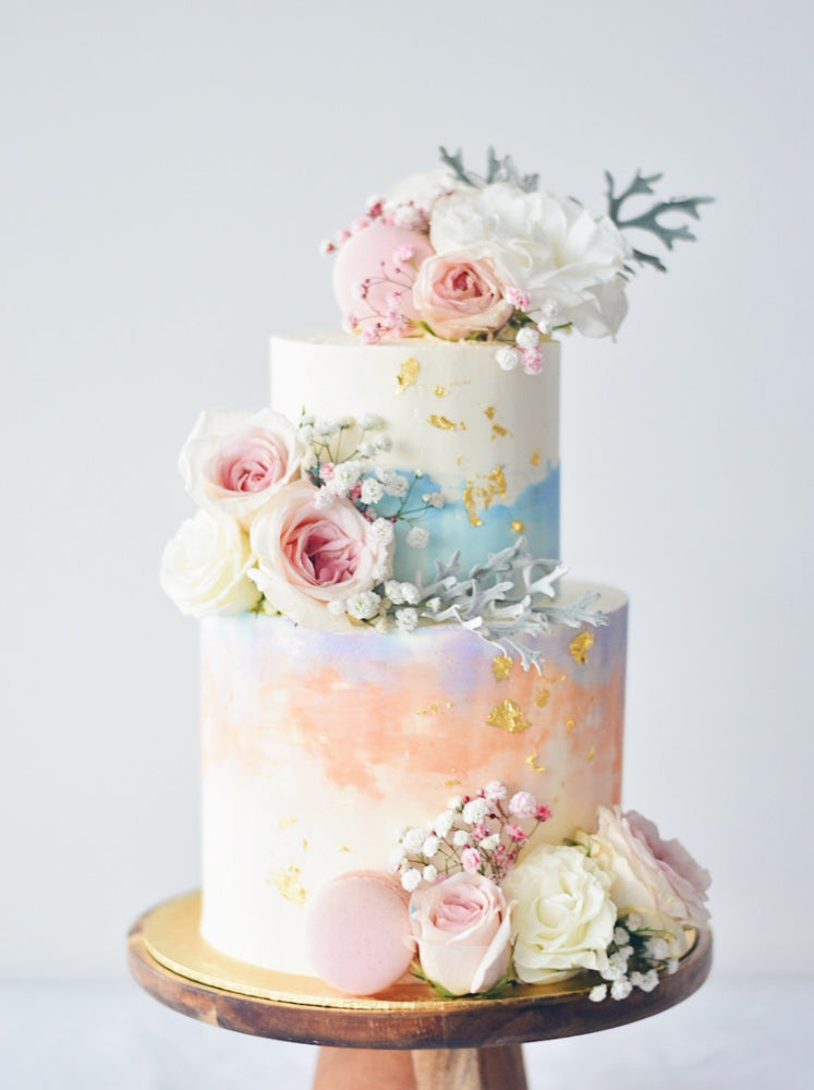 Floral sunset watercolour cake - zeeandelle
