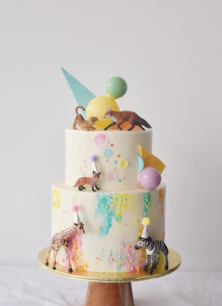 Online Geometric Pastel Party Animal Cake |  Cakes. Sweets. Dessert Bars- Zee & Elle
