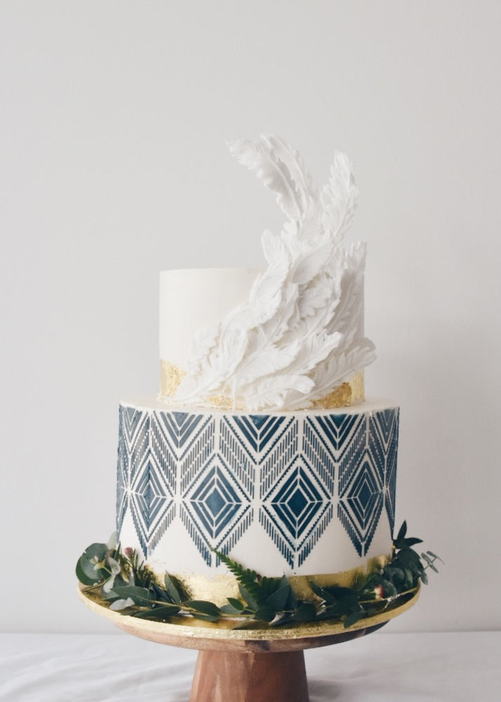 Geometric with Feathers Cake