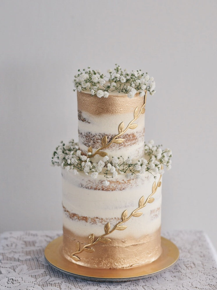 Gold Babybreath Cake