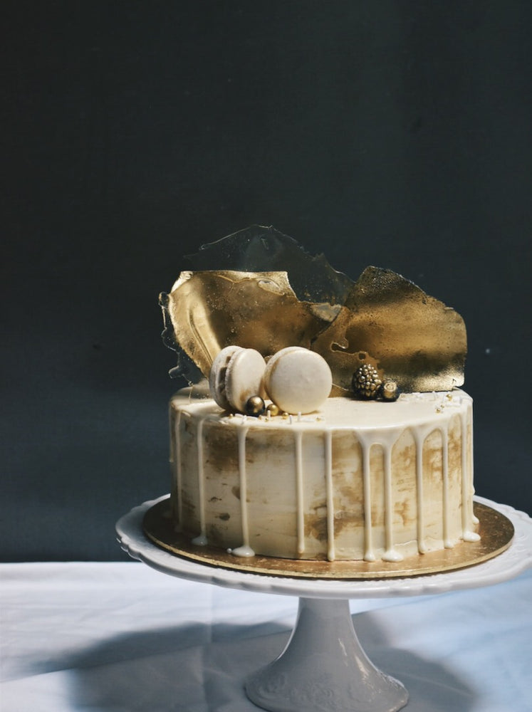 Gold and White Encased Cake - Cakes. Sweets. Dessert Bars- Zee & Elle