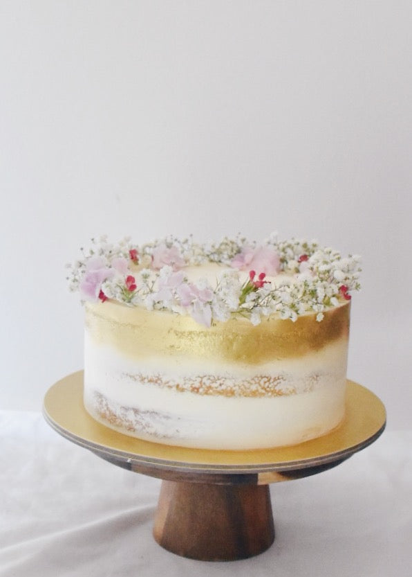 Online Gold and Pink Baby Breath Cake |  Cakes. Sweets. Dessert Bars- Zee & Elle