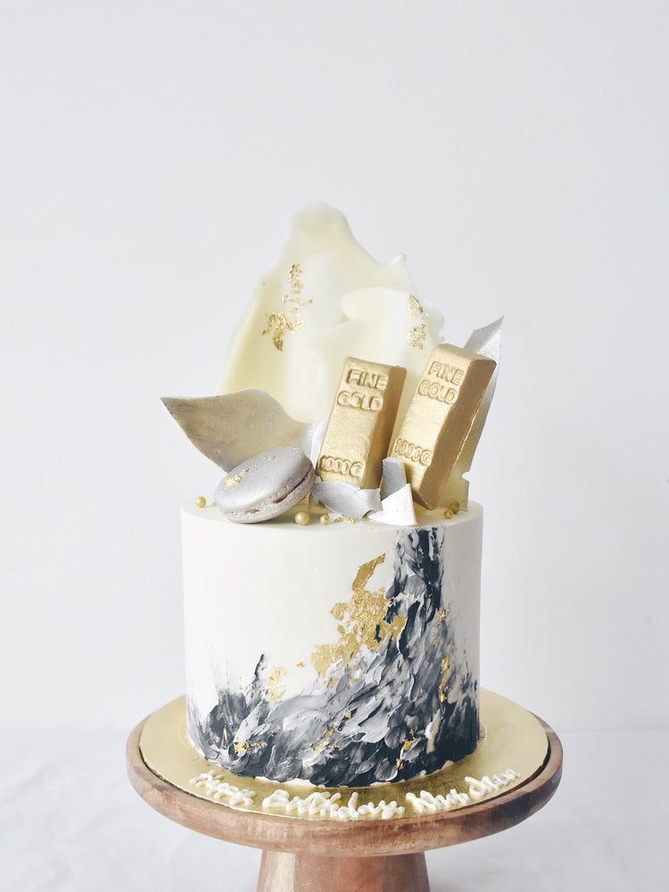 Gold Bars Fondant on marbles stroke cake -zeeandelle