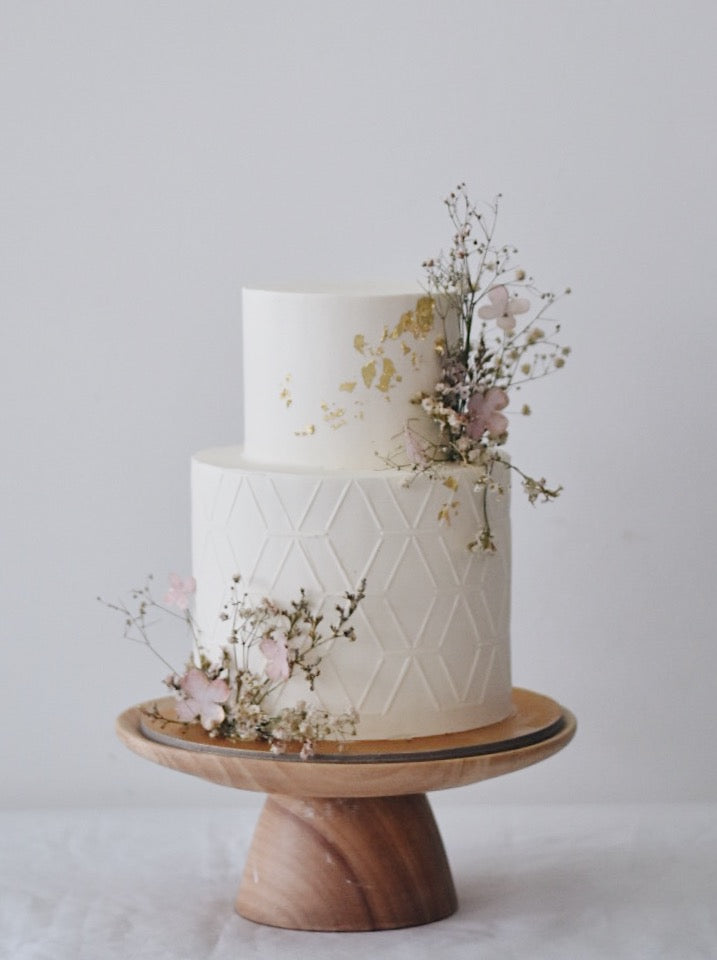 Minimalistic Ethereal White and Gold Cake