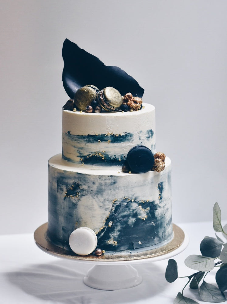 Navy Blue Gold Cake