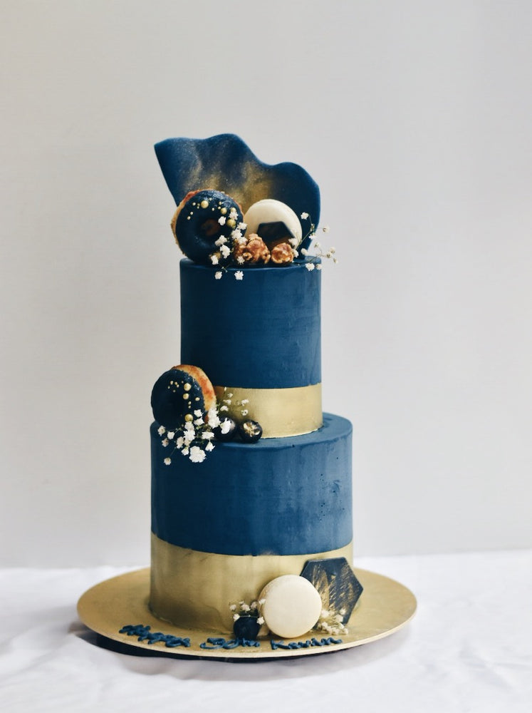 Customised Navy & Gold Stud Birthday Cake - Cakes. Sweets. Dessert Bars- Zee & Elle