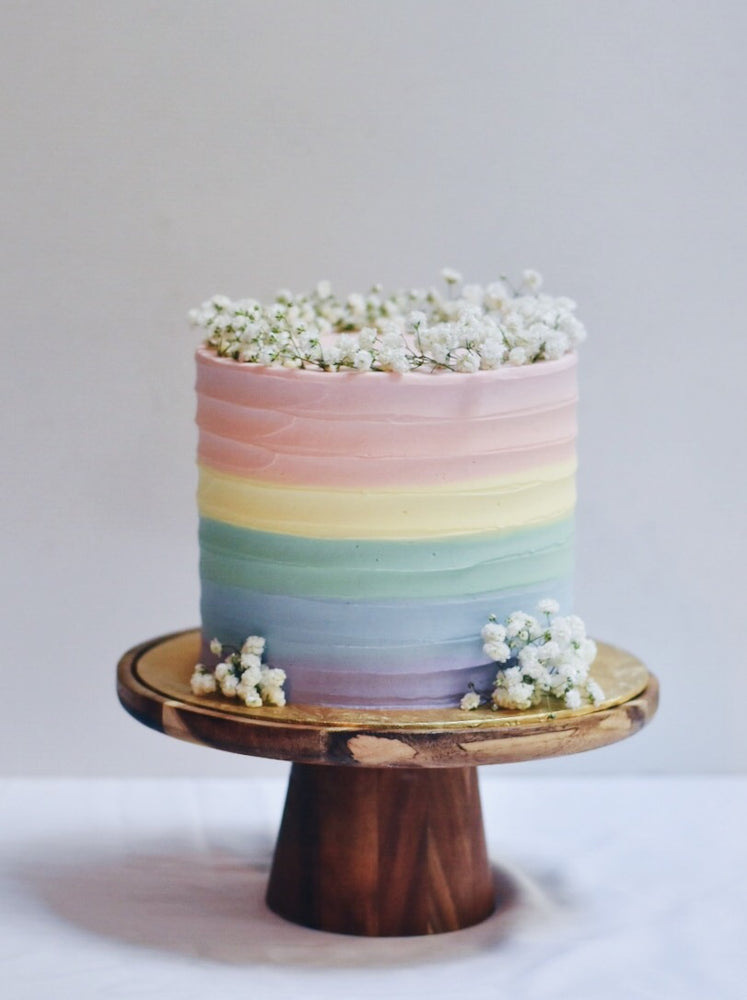 Customised Pastel Rainbow Babybreath Birthday Cake - Cakes. Sweets. Dessert Bars- Zee & Elle